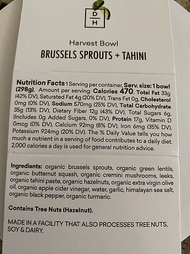 Healthy Home Meal Delivery - Ingredient Label