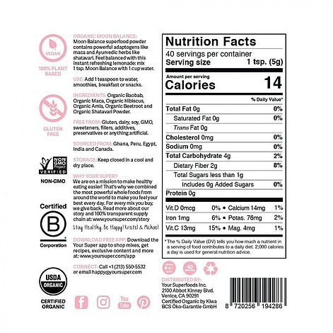 Moon Balance Review ingredient list